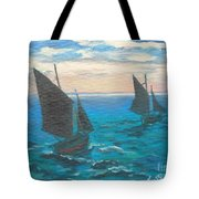 Monet's Boats Leaving The Harbor Tote Bag