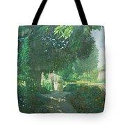 Monets Garden Oil On Board Tote Bag