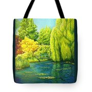 Monets Lily Pond In Green Tote Bag