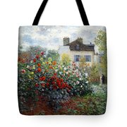 Monet's The Artist's Garden In Argenteuil  -- A Corner Of The Garden With Dahlias Tote Bag