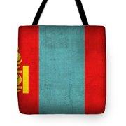 Mongolia Flag Vintage Distressed Finish Tote Bag
