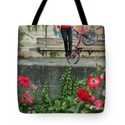 Monika Hinz Doing Elegant Bmx Flatland Trick Tote Bag