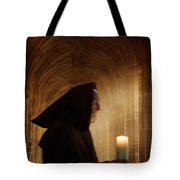 Monk With Candle In Cathedral Tote Bag