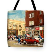 Monkland Street Hockey Game Montreal Urban Scene Tote Bag by Carole Spandau