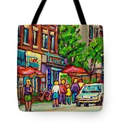 Monkland Tavern Corner Old Orchard Montreal Street Scene Painting Tote Bag
