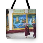 Monks In Rain At Shwedagon Paya Temple Yangon Myanmar Tote Bag