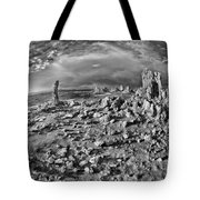 Mono Lake Tufa Rocky Beach Black And White Tote Bag