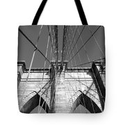 Monochromatic View Of Brooklyn Bridge Tote Bag