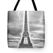 Monochrome Eiffel Tower Fractal Tote Bag