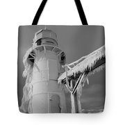 Monochrome Frozen Lighthouse Grand Haven Michigan Tote Bag