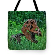 Monster In The Grass Tote Bag