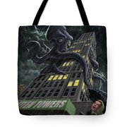 Monster Octopus Attacking Building In Storm Tote Bag