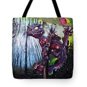Monster With Flag Tote Bag