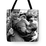 Montagnard Woman With Umbrella And Child Tote Bag