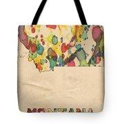 Montana Map Vintage Watercolor Tote Bag