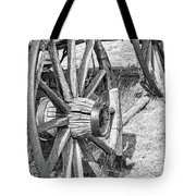 Montana Old Wagon Wheels Monochrome Tote Bag by Jennie Marie Schell
