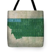 Montana Word Art State Map On Canvas Tote Bag
