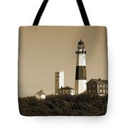 Montauk Point Light In Sepia Tote Bag