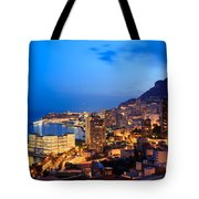 Monte Carlo Cityscape At Night Tote Bag