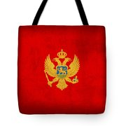 Montenegro Flag Vintage Distressed Finish Tote Bag