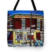 Montreal Art Hockey Paintings Chez Bert Depanneur The Pointe Verdun City Scene Carole Spandau  Tote Bag