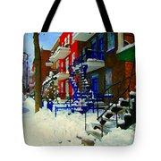 Montreal Art Streets Of Verdun Winter Scenes Winding Staircases Snowscenes Carole Spandau Tote Bag