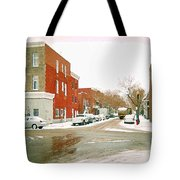 Montreal Art Winter Street Scene Painting The Point Psc Rowhouses In January Snow Cspandau Tote Bag