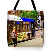 Montreal Bus Scenes Catching The 97 Bus Pontiac Corner Mont Royal Urban Montreal Art Carole Spandau Tote Bag