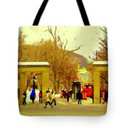 Montreal Memories Mcgill Students On Campus Roddick Gates Montreal Collectible Art Prints C Spandau Tote Bag