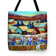 Montreal Memories Rink Hockey In The Country Hockey Our National Pastime Carole Spandau Paintings Tote Bag
