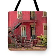 Montreal Memories The Old Neighborhood Timeless Triplex With Spiral Staircase City Scene C Spandau  Tote Bag