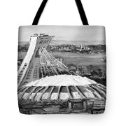 Montreal Olympic Stadium And Olympic Park-home To Biodome And Velodrome-montreal In Black And White Tote Bag