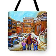 Montreal Paintings Winter Walk Past The Old School Snowy Day City Scene Carole Spandau Tote Bag