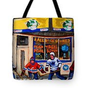 Montreal Pool Room City Scene With Hockey Tote Bag