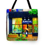 Montreal Rainy Day  Window Shopping Girl With Paisley Umbrella Spa Molinard Laurier  Carole Spandau Tote Bag