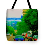 Montreal Skyline Decarie View Of Clock Tower Victoria Pier And Super Hospital Site Carole Spandau Tote Bag