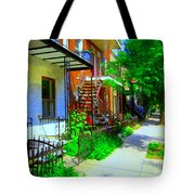 Montreal Stairs Shady Streets Winding Staircases In Balconville Art Of Verdun Scenes Carole Spandau Tote Bag
