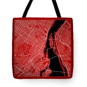 Montreal Street Map - Montreal Canada Road Map Art On Color Tote Bag