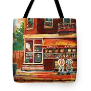 Montreal Street Scene Paintings Tote Bag