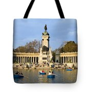 Monument And Lake In Retiro Park In Madrid Tote Bag