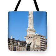 Monument On Restauradores Square In Lisbon Tote Bag