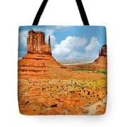 Monument Valley In Spring Panoramic Painting Tote Bag