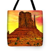 Monument Valley Right Mitten Sunrise Painting Tote Bag