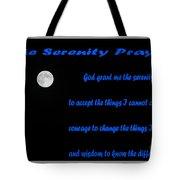 Moon - Serenity Prayer - Blue Tote Bag