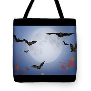 Moon And Bats Tote Bag
