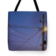 Moon And Wires Tote Bag