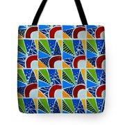 Moon - Mountains - Borealis - Quilt Painting Tote Bag