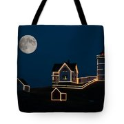 Moon Over Cape Neddick Tote Bag by Guy Whiteley