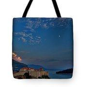 Moon Over Dubrovnik's Walls Tote Bag
