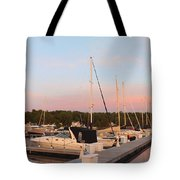 Moon Over Egg Harbor Marina Tote Bag
